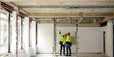 Workers at a building renovation
