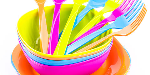 Colourful plastic cutlery